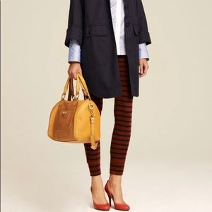 J Crew Navy Blue and Brown Striped Leggings